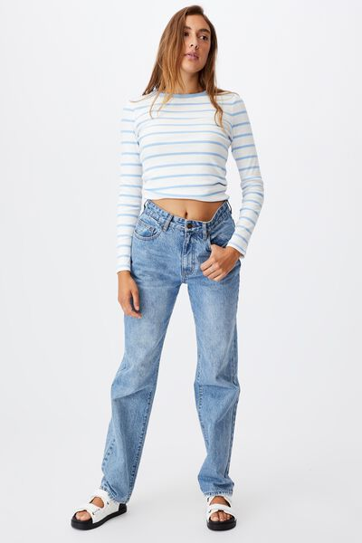The Turn Back Long Sleeve Top, ANGIE STRIPE WHITE/AUTHENTIC BLUE