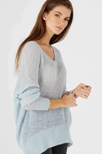 Klara Open Knit Sweater, SOFT SKY BLUE