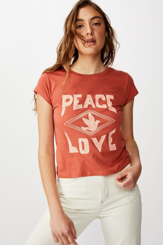 Essential Slogan T Shirt, PEACE LOVE/BRUSCHETTA