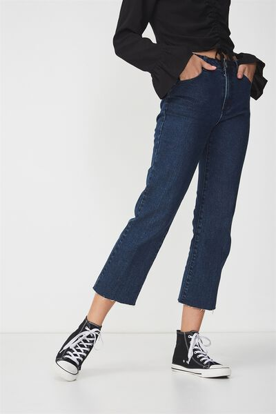 Mid Rise Straight Crop Stretch Jean, RINSE BLUE