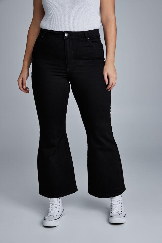 Curve Denim Stretch Flare Jean, BLACK