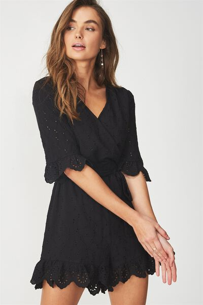 woven elly embroidered romper, BLACK BROIDERIE