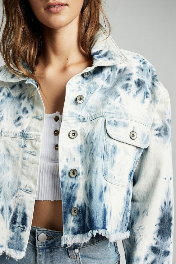 Cropped Fashion Batwing Denim Jacket, TIE DYE