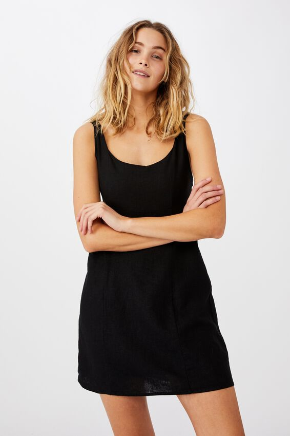 Woven Libby Strappy Mini Dress, BLACK