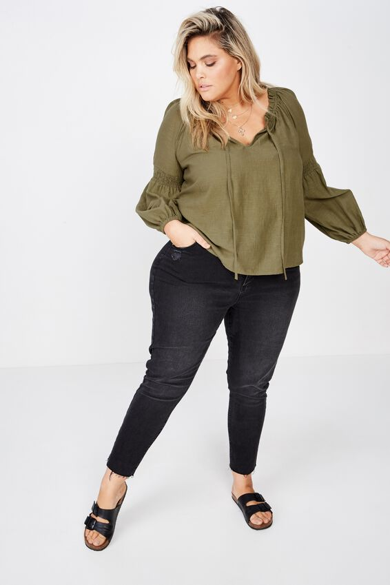 Curve Breanne Woven Top, BURNT OLIVE
