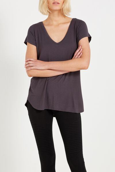 Keira Short Sleeve V-Neck T Shirt, EBONY