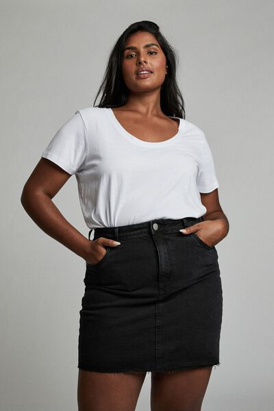 Curve Denim Mini Skirt, MIDNIGHT BLACK