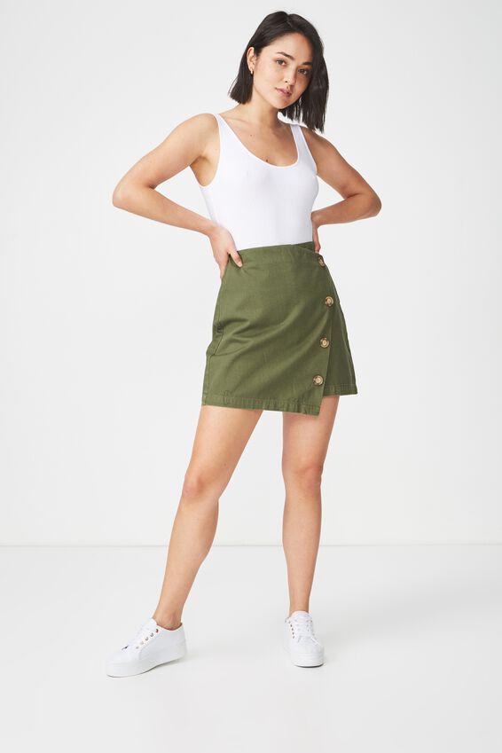 Woven Lulu Mini Skirt, SOFT KHAKI