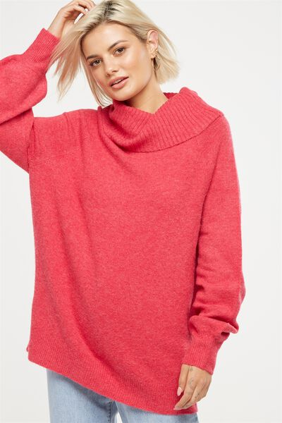 Monty Roll Neck Luxe Pullover, LOVE POTION