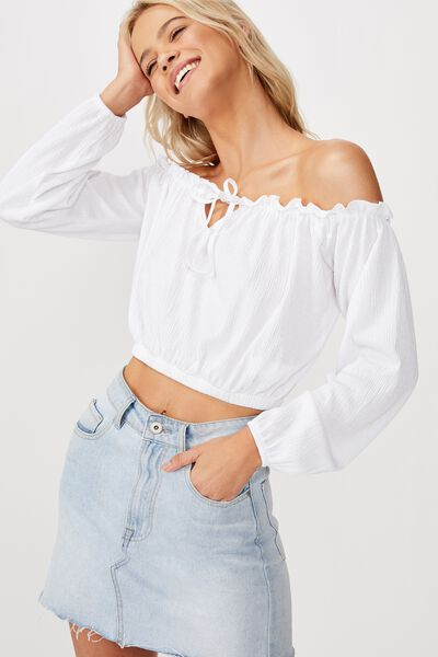Moss Off The Shoulder Long Sleeve Top, WHITE