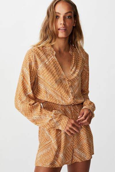 Woven Luella Long Sleeve Playsuit, BILLIE SPLICED GEO LION