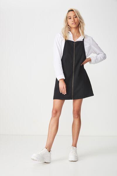 Faith Denim Pinafore Mini Dress, BLACK WASH
