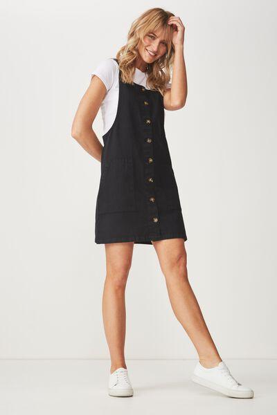 Denim Button Through Dress, WASHED BLACK