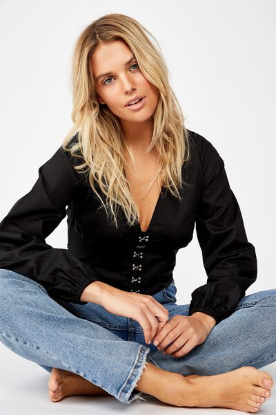 Hook And Eye L/S Blouse, BLACK