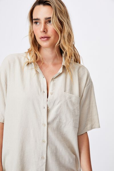 Dad Short Sleeve Shirt, FAWN