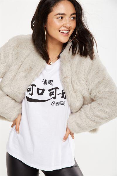 Faux Fur Jacket, GREY MULTI