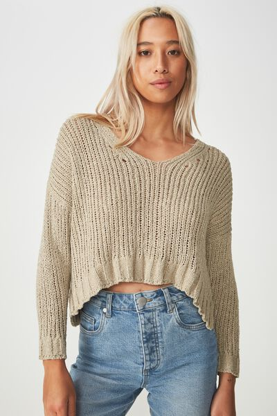 Cropped Open Knit Pullover, SILVER SAGE