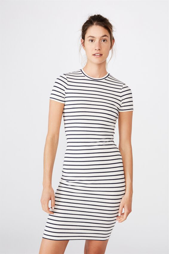 Essential Short Sleeve Midi Dress, COLE STRIPE WHITE MOONLIGHT RIB