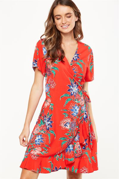 Woven Charli Short Sleeve Wrap Dress, HILLARY VINE FLORAL SCARLETT RED