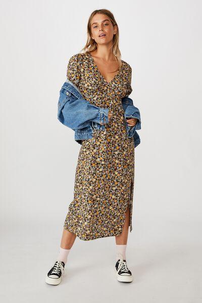 Woven Heather Long Sleeve Midi Dress, LIZ MULTI FLORAL BLACK