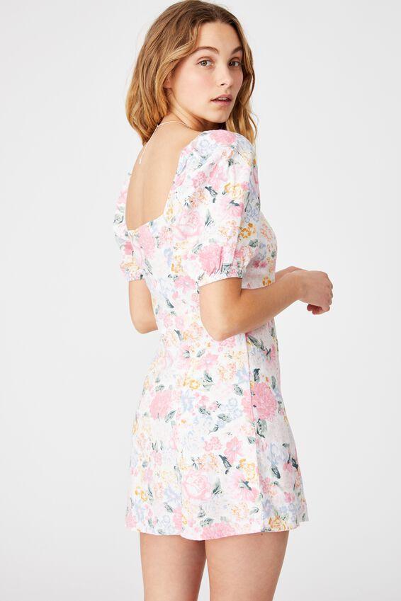 Woven Leona Bell Sleeve Mini Dress, JAMIE FLORAL MULTI WHTE