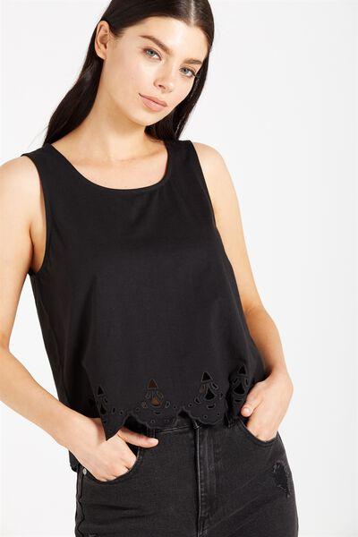 Mabel Detailed Sleeveless Cami, BLACK