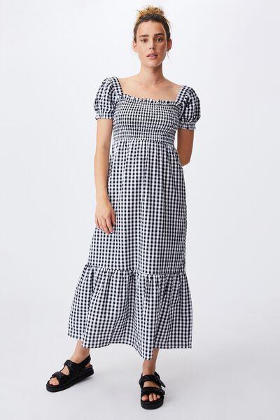 Woven Louise Shirred Maxi Dress, GERI GINGHAM BLACK