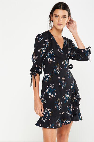 Woven Charli 3/4 Sleeve Wrap Dress, HOLLY FLORAL BLACK