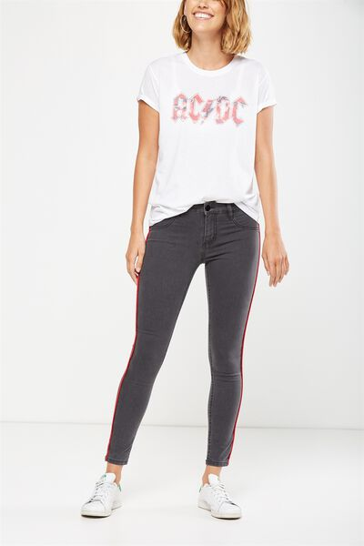 Mid Rise Jegging, FADED BLACK PIPING
