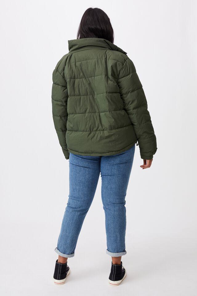Curve Crinkle Puffer Jacket, KHAKI