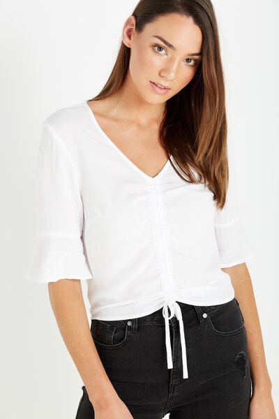 Maddie Rouched Tie Front Top, WHITE