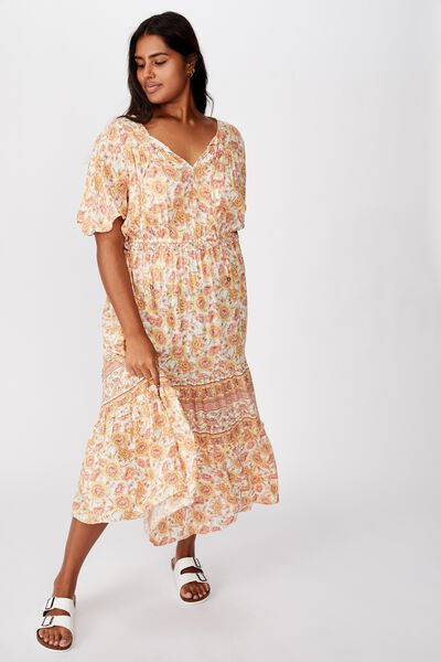 Curve Tiered Maxi Dress, SUNDAY FLORAL BORDER APRICOT ICE