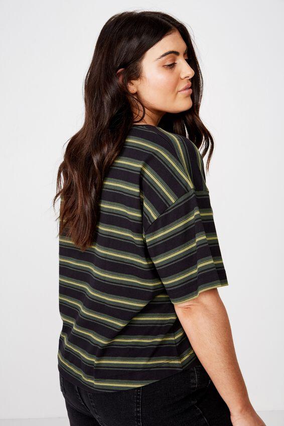 Curve Mid Sleeve Oversize Crop, BLACK/DUFFLE GREEN/JUNGLE KHAKI STRIPE