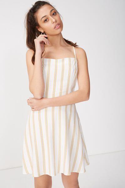 Woven Krissy Dress, STRAIGHT NECK RIVERIA STRIPE CURRY