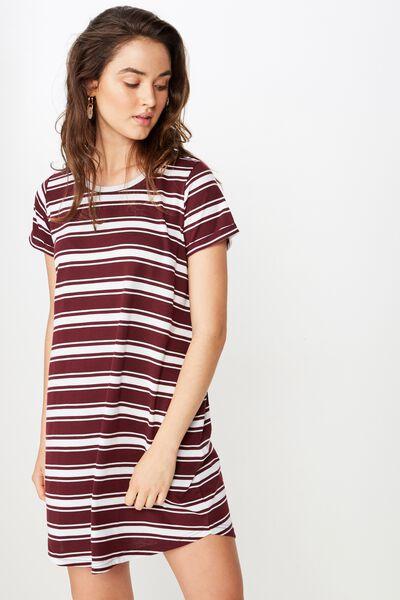 Tina Tshirt Dress 2, MAXI STRIPE FIG