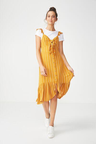 Woven Natalia Knot Front Button Up Midi, SAXXY STRIPE INCA GOLD