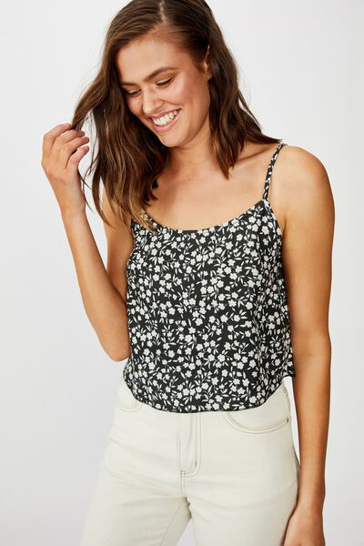 Astrid Cropped Scoop Neck Cami, TAYLAH DITSY PIRATE BLACK