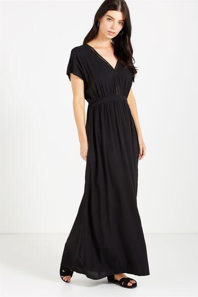 Woven Mira Kimono Maxi Dress, BLACK