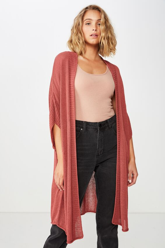 Longline Ss Kimono, ROSEWOOD