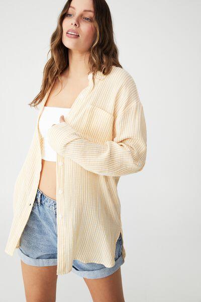 Savannah Oversized Shirt, SHANNON STRIPE SUNSHINE YELLOW