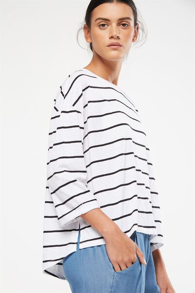 Jackie Oversized Long Sleeve Top, TRAY STRIPE WHITE/BLACK