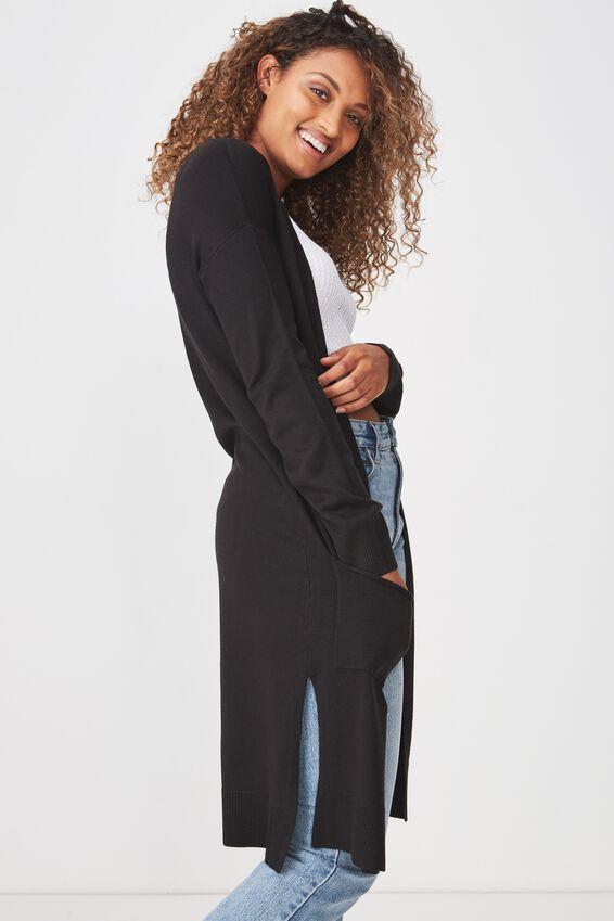 Francie Lightweight Longline Cardi, BLACK