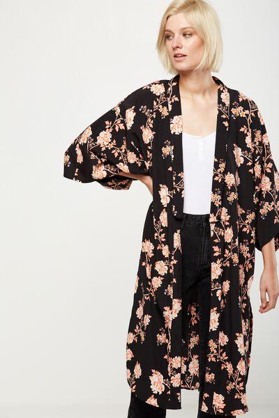 Lana Longline Kimono, ALICIA FLORAL PEACH BUD