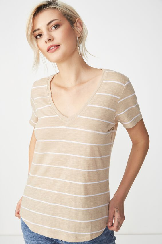 The Deep V, WIDE STRIPE OAT MARLE/WHITE
