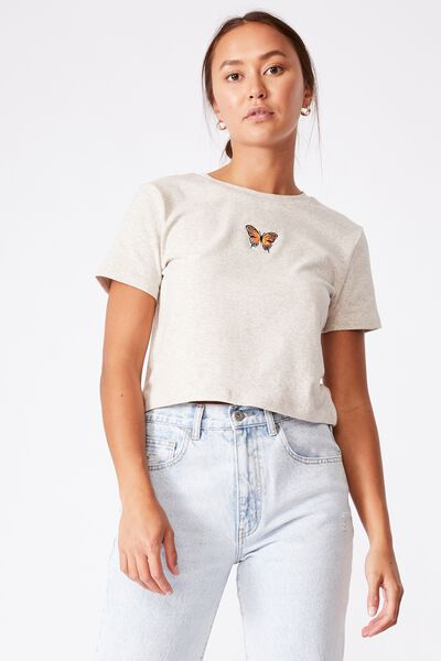 Rhi Rib Crop Graphic Tee - Marle, BUTTERFLY EMBROIDERY/BARLEY MARLE