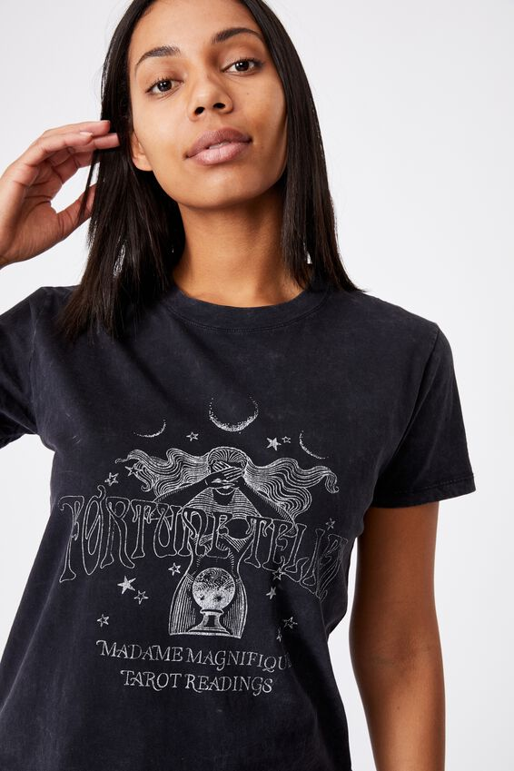 Classic Arts T Shirt, FORTUNE TELLER WASHED/BLACK