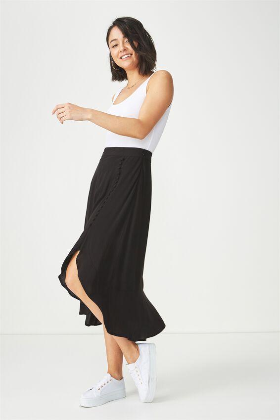 Woven Dana Drapey Midi Skirt, BLACK