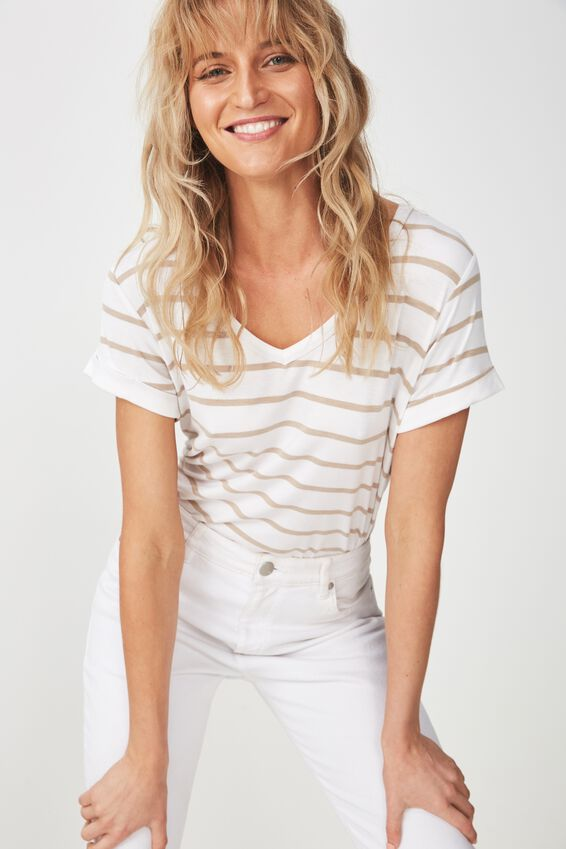 Karly Short Sleeve V Neck Top, MIRI STRIPE WHITE/LATTE MARLE