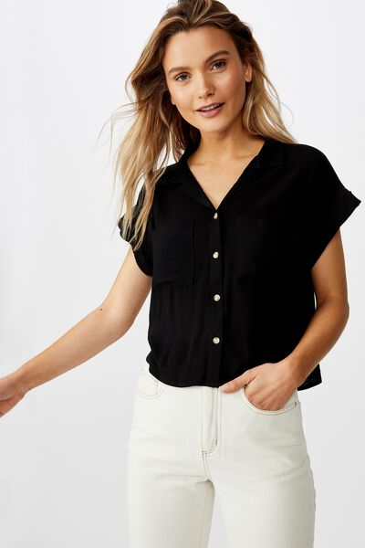 Emily Chopped Short Sleeve Shirt, BLACK