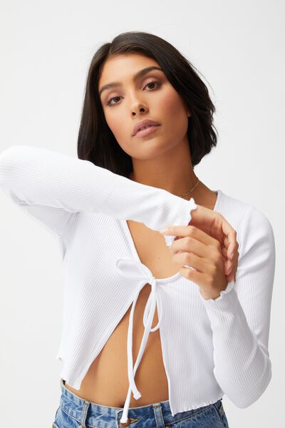 Vivvy Tie Front Long Sleeve Cardi, WHITE